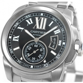 Cheap sale Cartier Calibre Automatic Mens Watches Black Dial And Sub dial