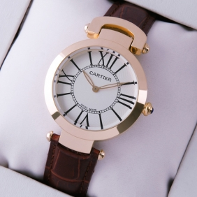 Ronde Solo De Cartier Brown Leather 18K Rose Gold Ladies Replica Watches