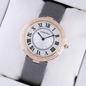 Ronde Solo De Cartier Rose Gold Two Rows Diamond Bezel Grey Satin Strap Ladies Watches