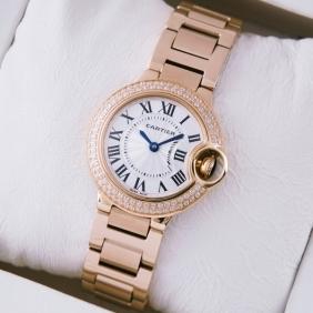 SWISS Ballon Bleu de Cartier Two Rose Diamonds 18kt Rose Gold Ladies Watches imitation