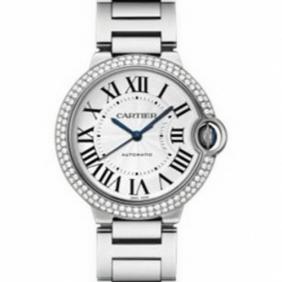 Fake Cartier Ballon Bleu Midsize Unisex Watch Replica in White Gold