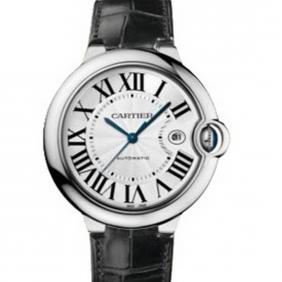 Cheap Mens Ballon Bleu Cartier Swiss Automatic Mechanical Movement Leather Strap Watch