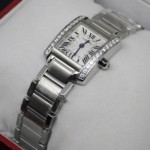 Copy Cartier Tank Francaise 18K White Gold Diamonds Ladies Watches