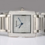 Copy Cartier Tank Francaise Diamond 18K White Gold Full Diamonds Dial and Bezl Mens Watches