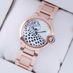Fake Ballon Bleu de Cartier 18K Rose Gold Leopard-Print Dial Unisex Watches