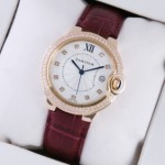 Fake Ballon Bleu de Cartier Diamond Rose Gold Brown Leather Diamonds Markers Unisex Watches