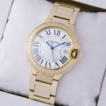 Fake Ballon Bleu de Cartier Midsize Diamonds 18kt Yellow Gold Stones Bezel Unisex Watches