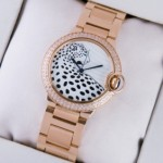 Fake Ballon Bleu de Cartier Rose Gold Leopard-Print Dial Diamonds Bezel Unisex Watches