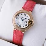 Fake Ballon Bleu de Cartier Two Rows Diamonds Rose Gold Pink Ladies Watches cheap