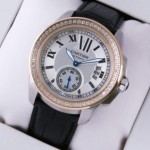 Fake Calibre De Cartier Two-Tone Rose Gold Black Leather Diamonds Mens Watches