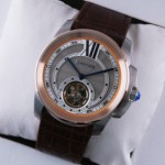 Fake Calibre de Cartier Flying Tourbillon Two-Tone Rose Gold Silver Dial Brown Leather Mens Watches