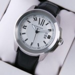 Fake Calibre de Cartier White Dial Black Leather Strap Mens Watches