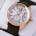 Fake Cartier Calibre de Cartier 18k Rose Gold Silver Dial Automatic Watches W7100009