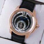 Fake Cartier Calibre de Cartier Flying Tourbillon 18K Rose Gold Black Dial Mens watches