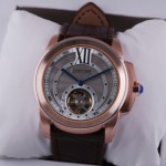Fake Cartier Calibre de Cartier Flying Tourbillon 18k Rose Gold Mens Watch W7100002