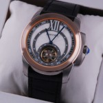 Fake Cartier Calibre de Cartier Flying Tourbillon Two-Tone Rose Gold Black Leather Strap Mens Watches