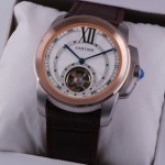 Fake Cartier Calibre de Cartier Flying Tourbillon Two-Tone Rose Gold Brown Leather Strap Mens Watches