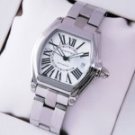 Fake Cartier Roadster Automatic Stainless Steel Silver White Dial Mens Watches