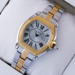 Fake Cartier Roadster Two-tone 18K Yellow Gold and Stainless Steel Silver Dial Ladies Watches W62026Y4