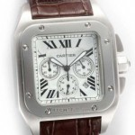 Fake Cartier Santos 100 Chronograph Stainless Steel Brown alligator Strap Mens Watches