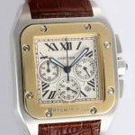 Fake Cartier Santos 100 Chronograph Two-Tone Yellow Gold and SS Brown alligator Strap Mens Watches