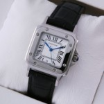 Fake Cartier Santos 100 Stainless Steel Black Leather Strap Mens Watches