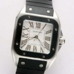 Fake Cartier Santos 100 Stainless Steel Black Rubber Band Unisex Watches