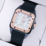 Fake Cartier Santos 100 Tow-Tone Rose Gold Black Rubber Band Limited Edition Ladies Watches