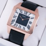 Fake Cartier Santos Dumont 18K Rose Gold Black and Silver Dial Large Mens Watches
