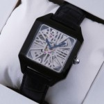 Fake Cartier Santos Dumont Skeleton Black PVD Black Leather Strap Mens Watches