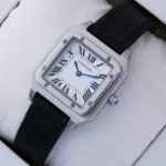Fake Cartier Santos Stainless Steel Black Leather Strap Ladies Watches