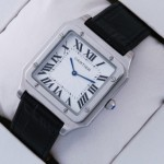 Fake Cartier Santos Stainless Steel Black Leather Strap Mens Watches cheap