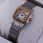 Fake Cartier Santos Two-Tone Yellow Gold and Stainless Steel Small Ladies Watches