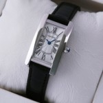 Fake Cartier Tank Americaine 18K White Gold Black Leather Band Ladies Watches