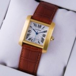 Fake Cartier Tank Francaise 18K Yellow Gold Brown Leather Band Mens Watches