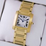 Fake Cartier Tank Francaise 18K Yellow Gold Mens Watches