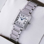 Fake Cartier Tank Francaise Two Rows Diamonds Bezel Stainless Steel Ladies Watches
