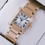 Fake SWISS Cartier Tank Francaise Diamonds 18K Rose Gold Mens Watches