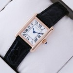 Fake SWISS Cartier Tank Solo 18kt Rose Gold Black Leather Strap Ladies Watches