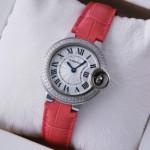 Faux Ballon Bleu de Cartier Two Rows Diamonds Steel Pink Leather Ladies Watches