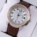 Faux Calibre de Cartier Two-Tone Rose Gold Diamonds Silver Dial Brown Leather Mens Watches