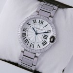 Faux Cartier Ballon Bleu de Cartier Midsize Two Rows Diamonds Bezel Steel Unisex Watches