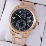 Faux Cartier Calibre de Cartier 18kt Rose Gold Brown Dial Automatic Mens Watches W7100040