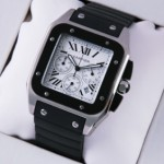 Faux Cartier Santos 100 Chronograph Stainless Steel Black Rubber Band Mens Watches