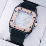 Faux Cartier Santos 100 Tow-Tone Rose Gold Black Rubber Band Limited Edition Mens Watches