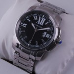Imitation Cartier Calibre de Cartier Black Dial Stainless Steel Mens Watches