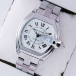 Imitation Cartier Roadster Stainless Steel Ivory Dial Mens Watches