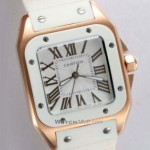 Imitation Cartier Santos 100 Yellow Gold Case White Rubber Band Mens Watches