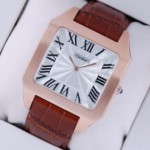 Imitation Cartier Santos Dumont 18K Rose Gold Brown Leather Strap Large Mens Watches