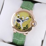 Replica Ballon Bleu de Cartier Rose Gold Pattern Dial Green Leather Strap Unisex Watches